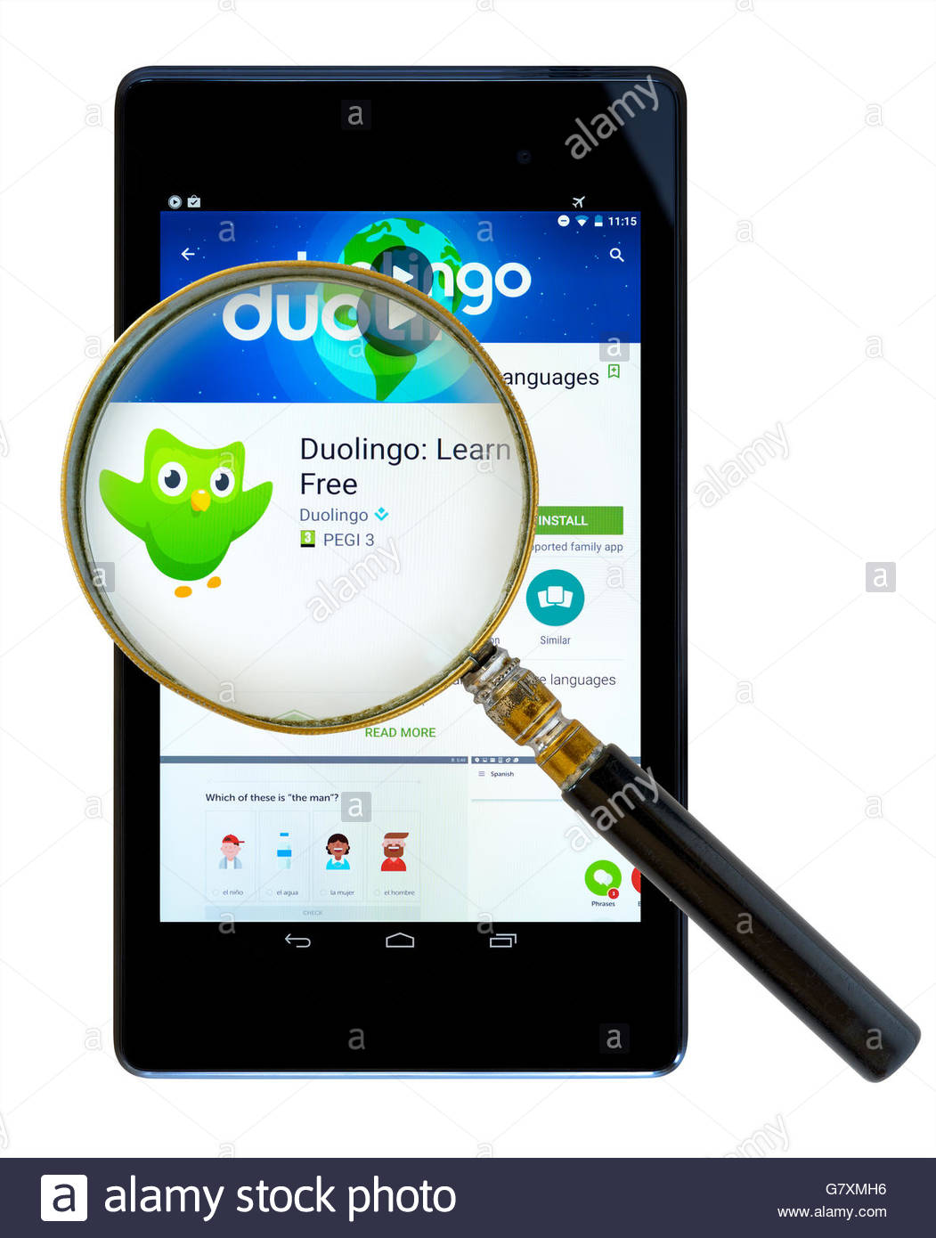 Duolingo language learning app shown on a tablet computer