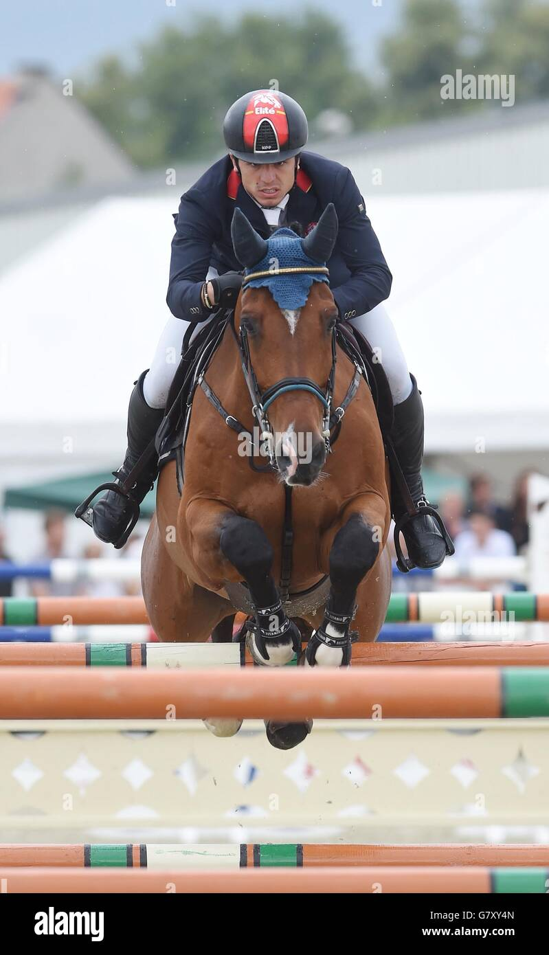 Second placed German rider Maxmilian Schmid with horse Chacon 2 during the 160 cm obstacles race during the FEI Stock Photo