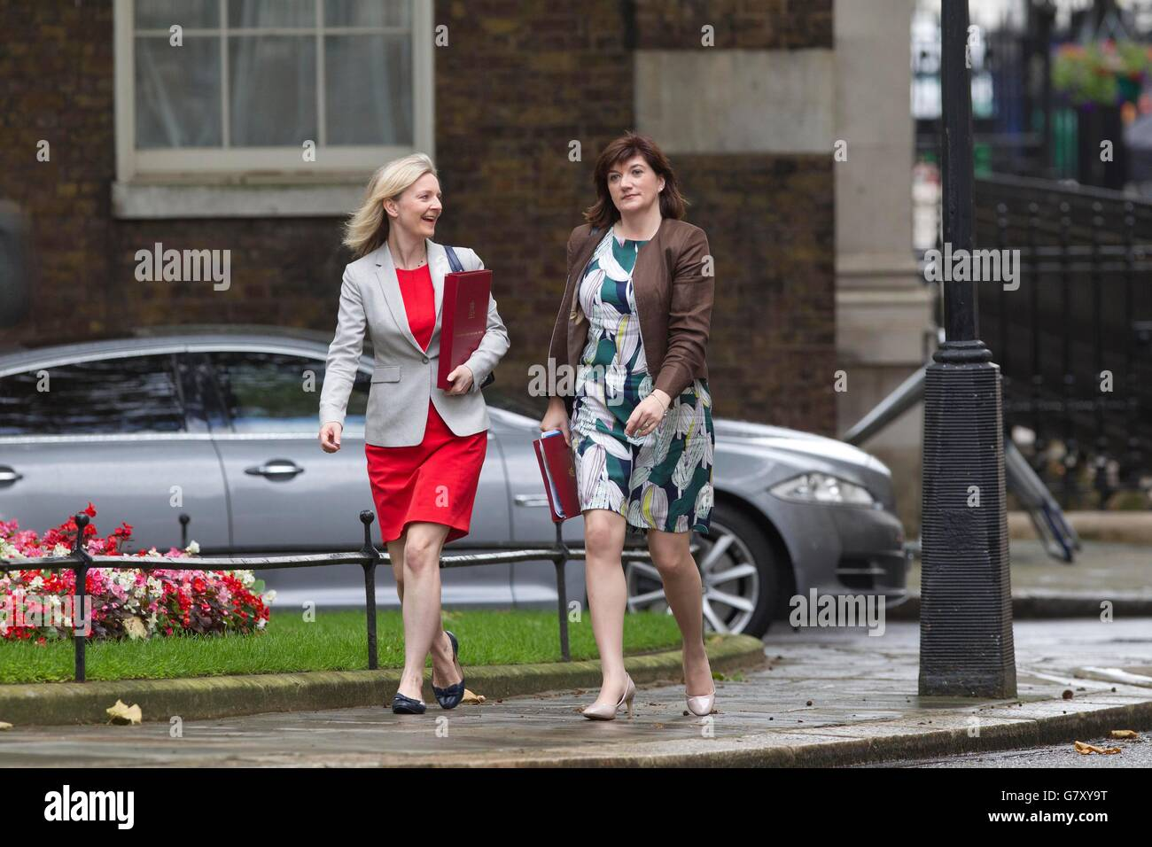 London, UK. 27th June, 2016. Liz Truss (left) Secretary of State for Environment, Food and Rural Affairs, with (right) Nicky Morgan Secretary of State for Education, arrive for the Conservative Party EU emergency Cabinet Meeting in Downing Street, London, UK Credit:  Jeff Gilbert/Alamy Live News Stock Photo
