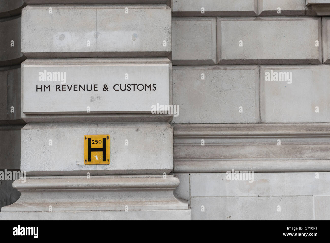 London, UK.  27 June 2016.  The HM Revenue and Customs (HMRC) office is seen in Whitehall.  The UK's tax authority Stock Photo