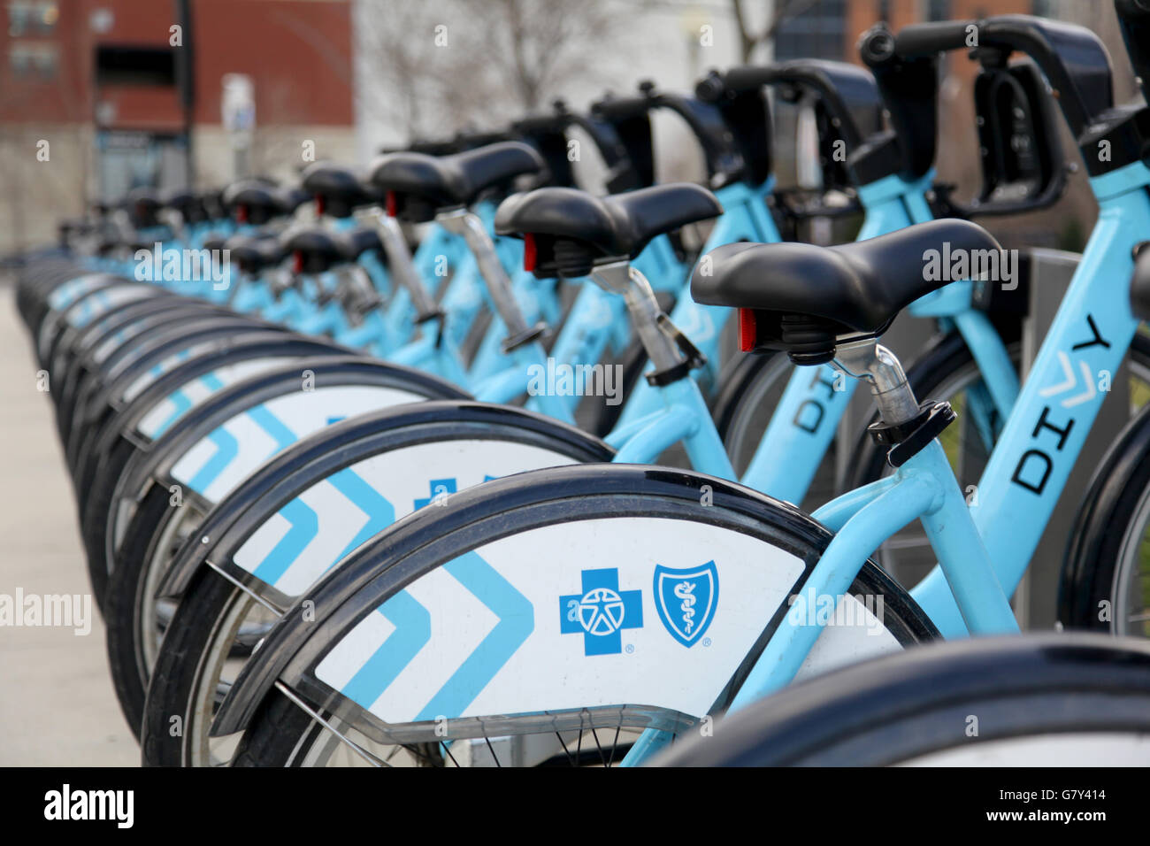 Divvy Bike-Sharing racks completely stocked in Chicago, Illinois. - Stock Image