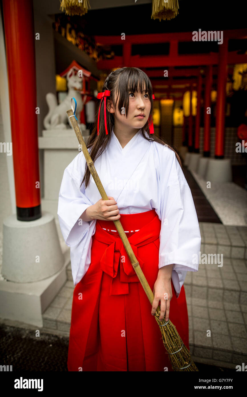 TOKYO JAPAN JUNE 27 A Shrine Maiden Posed For A