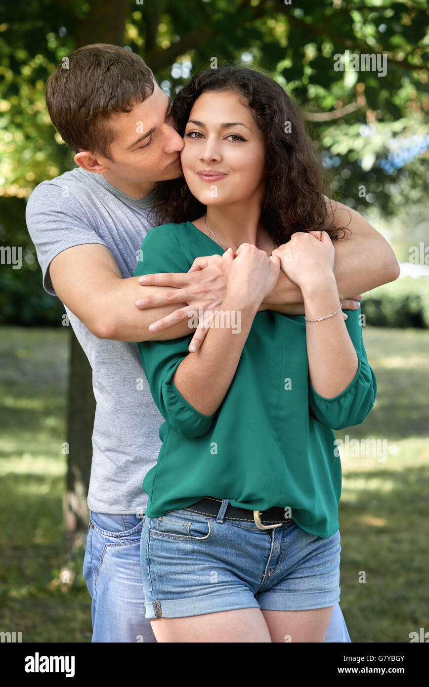 Romantic Couple Posing In City Park Summer Season Lovers Boy And Girl