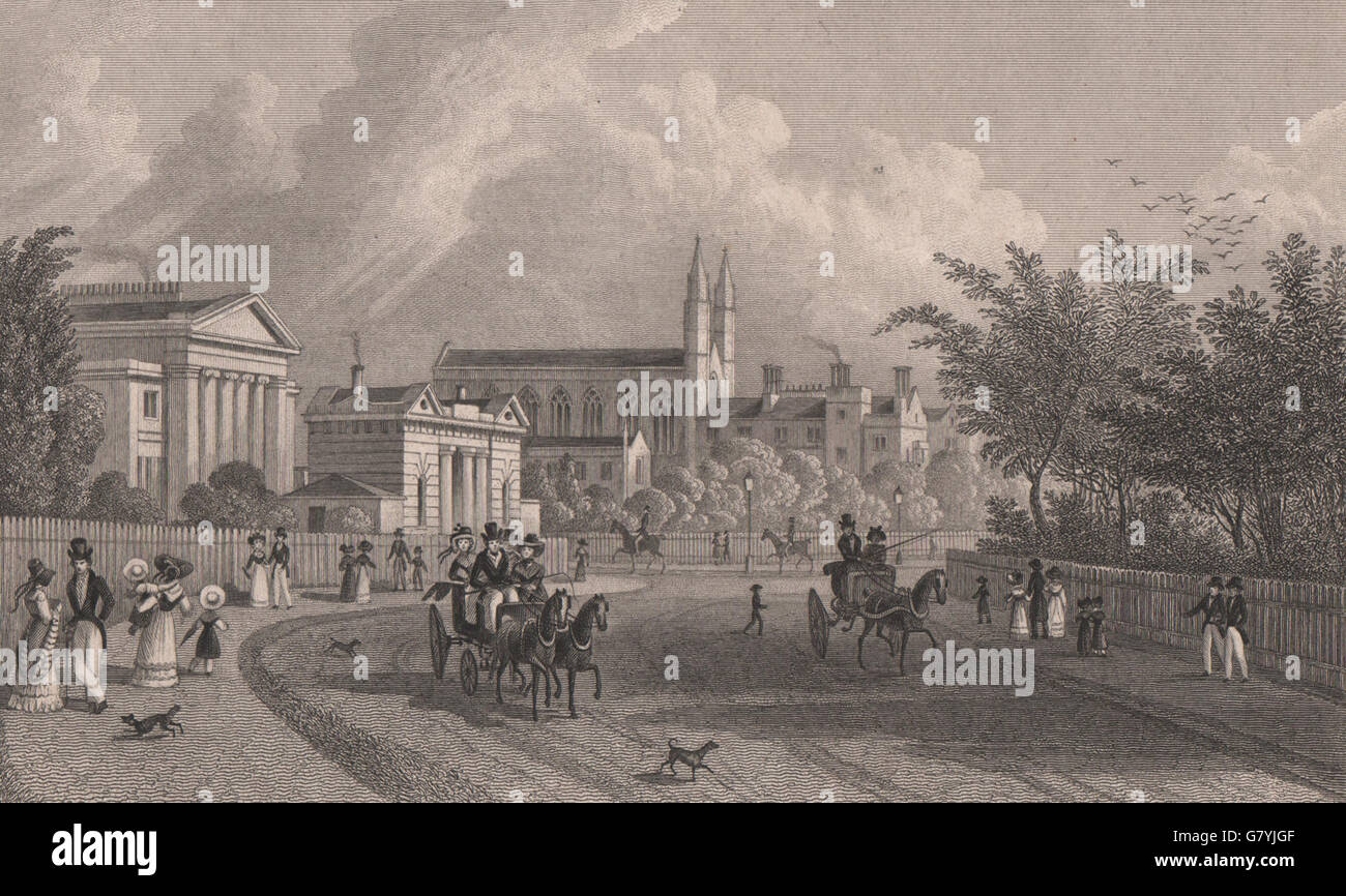 View In The Regent S Park London Shepherd Antique Print 1828 Stock Photo Alamy