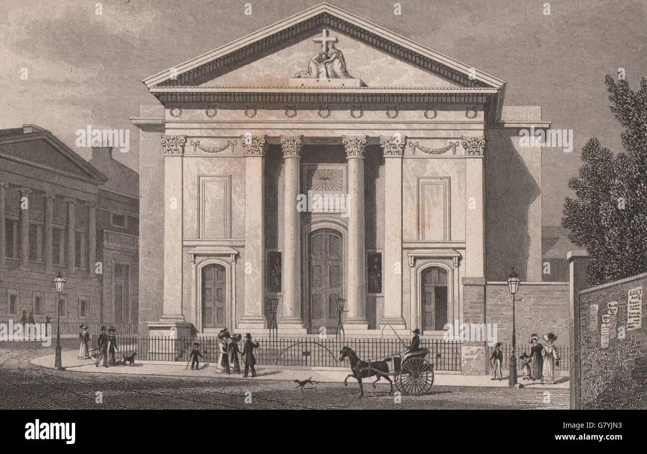 FINSBURY CIRCUS. St Mary Moorfields (now Moorgate station). SHEPHERD, 1828 - Stock Image