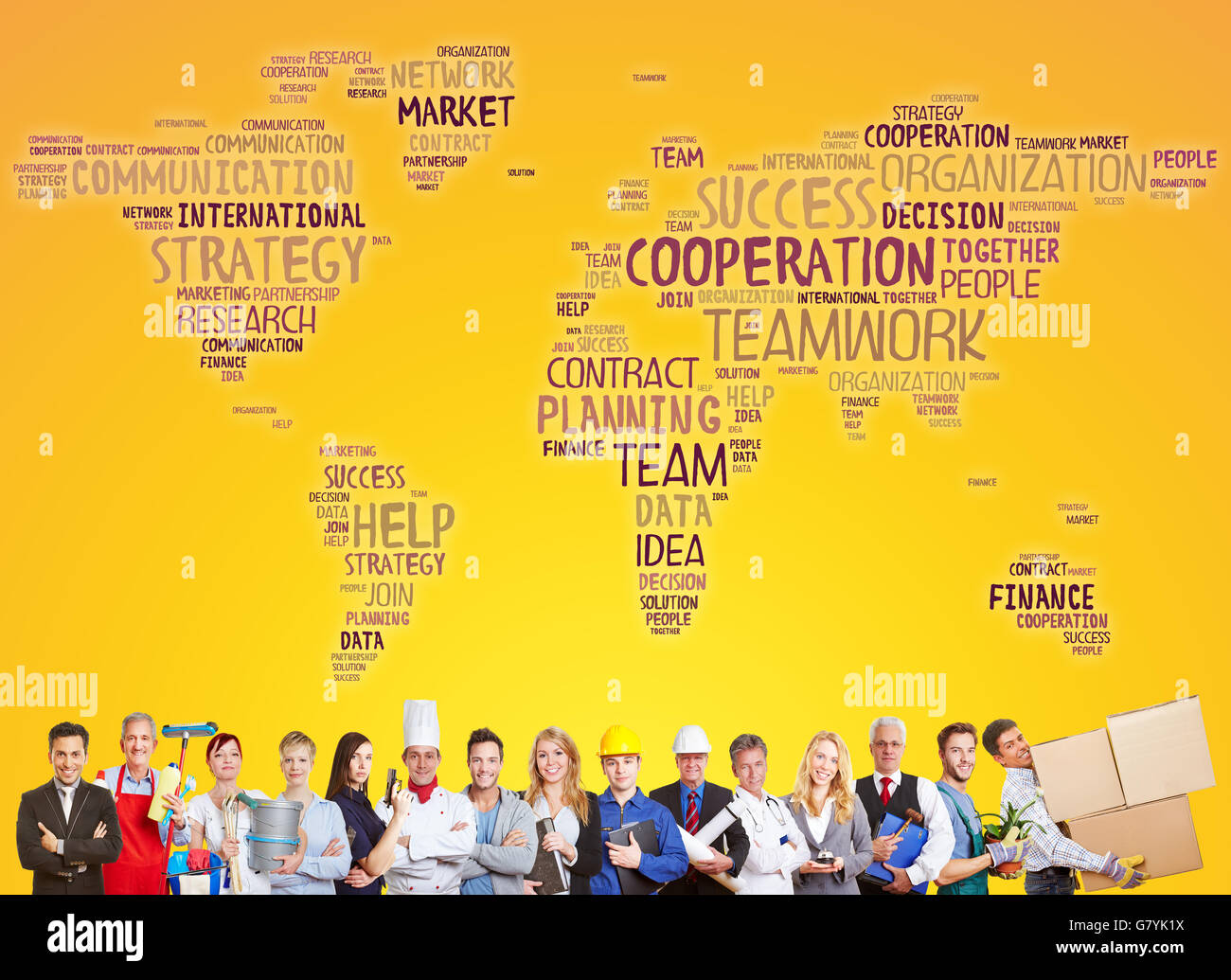 International cooperation and success team with different careers and professions - Stock Image