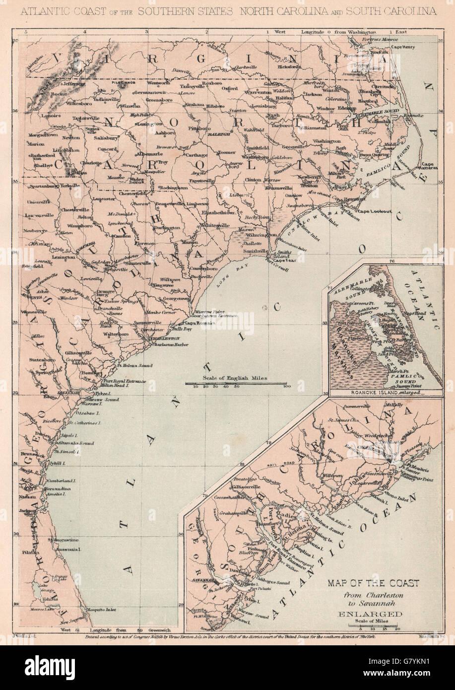 US CIVIL WAR Atlantic Coast VirginiaFlorida CharlestonSavannah