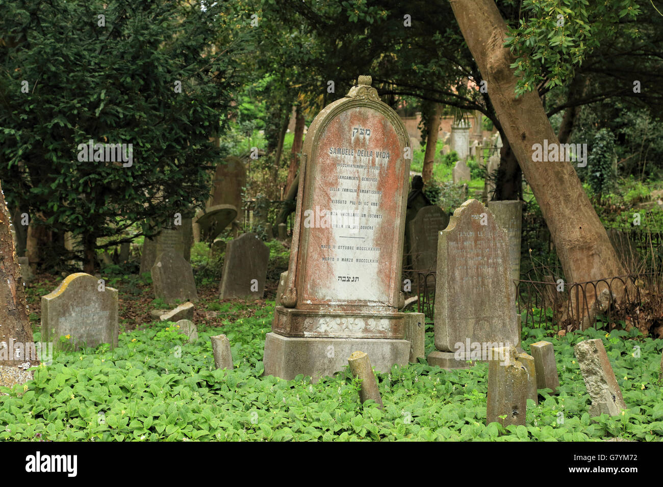Venice, Jewish cemetery in Lido di Venezia Stock Photo