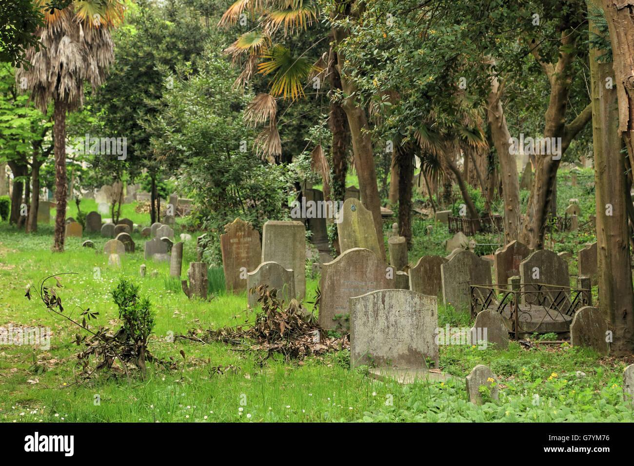 Venice, Jewish cemetery in Lido di Venezia Stock Photo