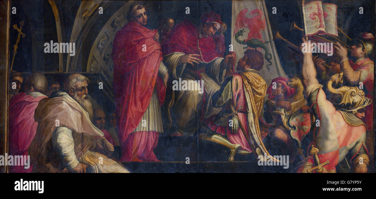 Giorgio Vasari - Clemente IV hands his insigna to the captains of the Guelph Part - Stock Image