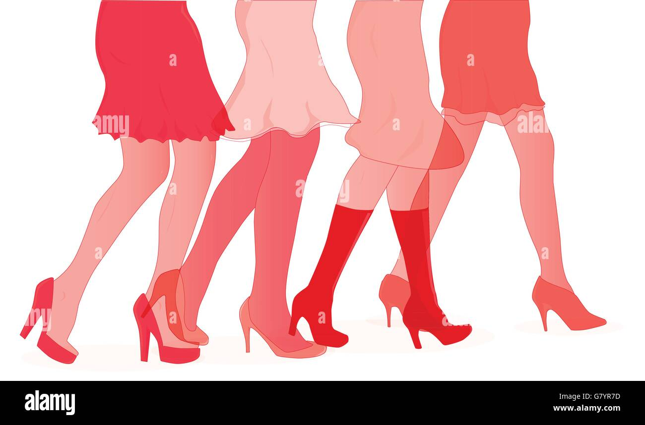 A collection of female legs walking towards the sale in red duotone - Stock Vector