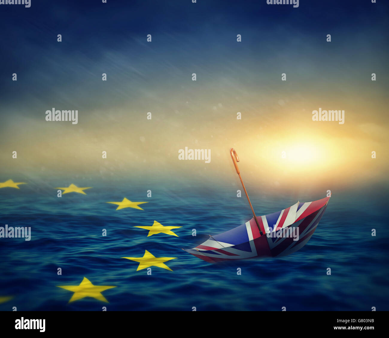 Umbrella with the flag of the United Kingdom and sea with the flag European Union.Brexit concept. - Stock Image