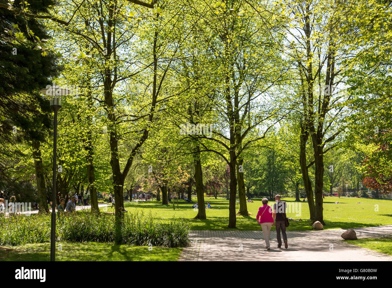The Grugapark in Essen, Germany, a municipal park in the city center, with many plants, gardens, animals and leisure - Stock Image