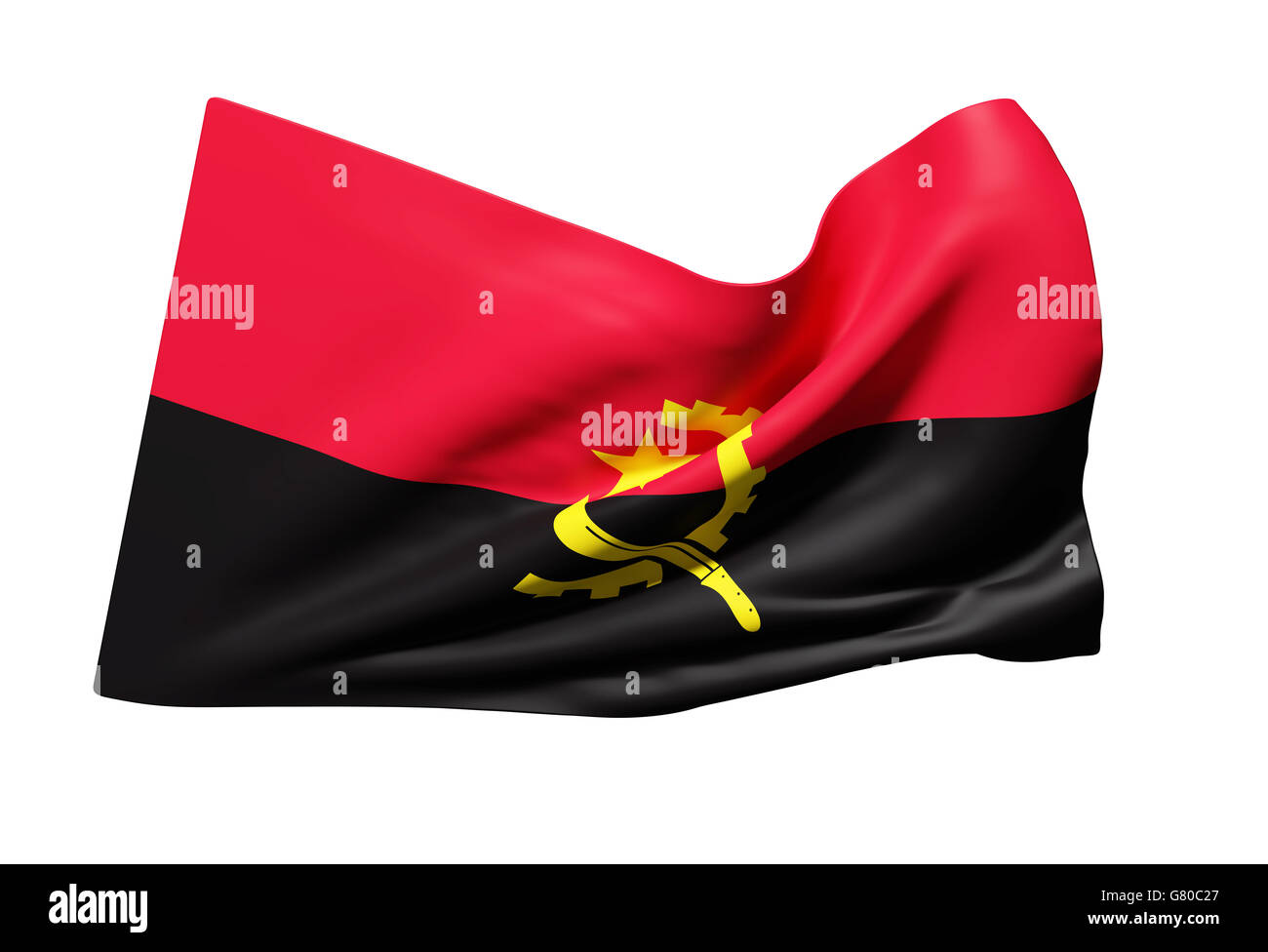 3d rendering of Republic of Angola flag waving - Stock Image