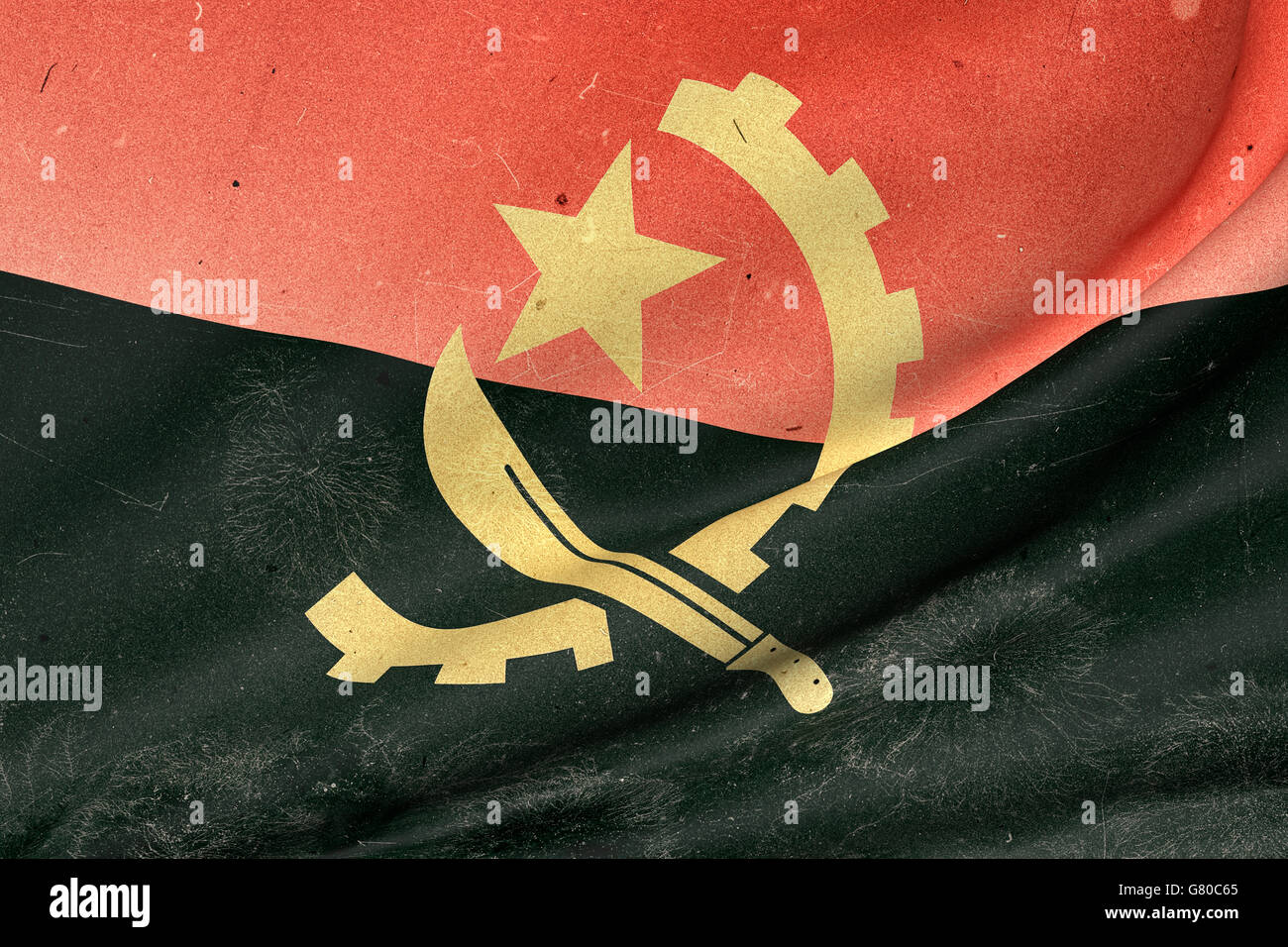3d rendering of an old and dirty  Republic of Angola flag waving - Stock Image