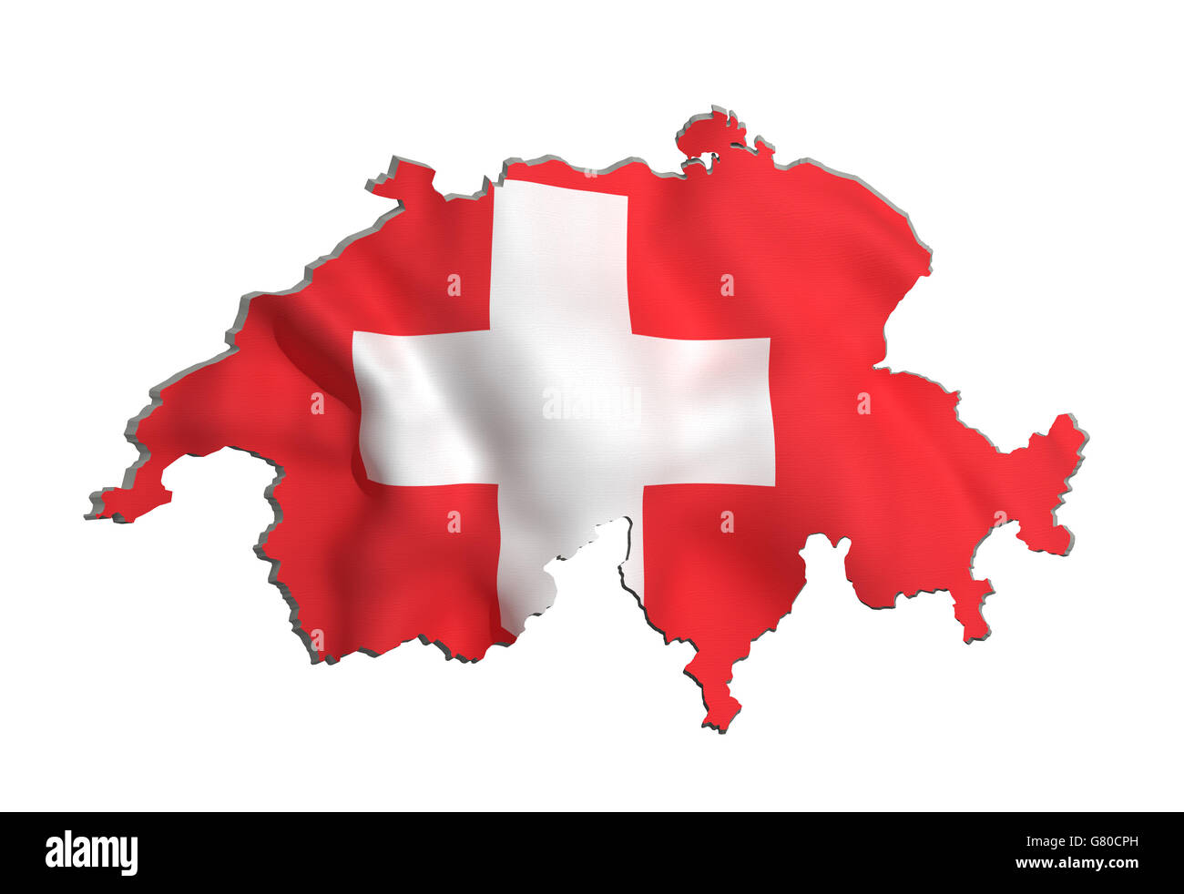 3d rendering of Switzerland map and flag on white background. - Stock Image