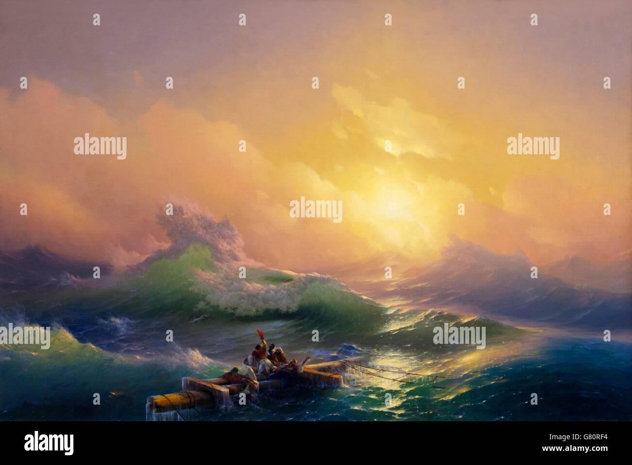 The Ninth Wave, Ivan Aivazovsky, 1850, Russian Museum, Saint Petersburg, Russia - Stock Image