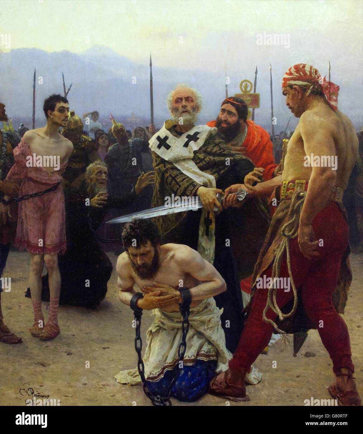 Saint Nicholas Saves Three Innocents from Death, by Ilya Repin, 1888, State Russian Museum, Saint Petersburg, Russia Stock Photo