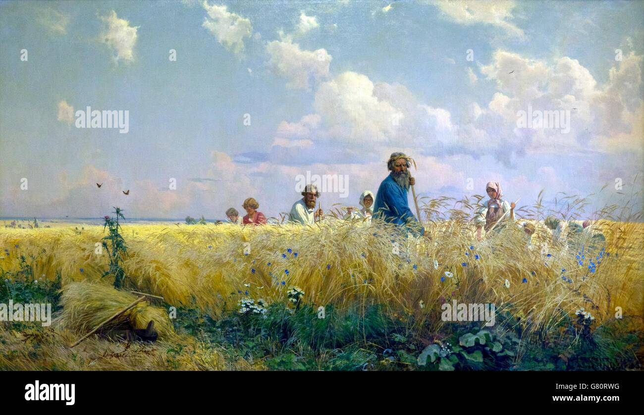 Harvest Time, Scythers, by Grigory Myasoyedov, 1887, State Russian Museum, Saint Petersburg, Russia - Stock Image