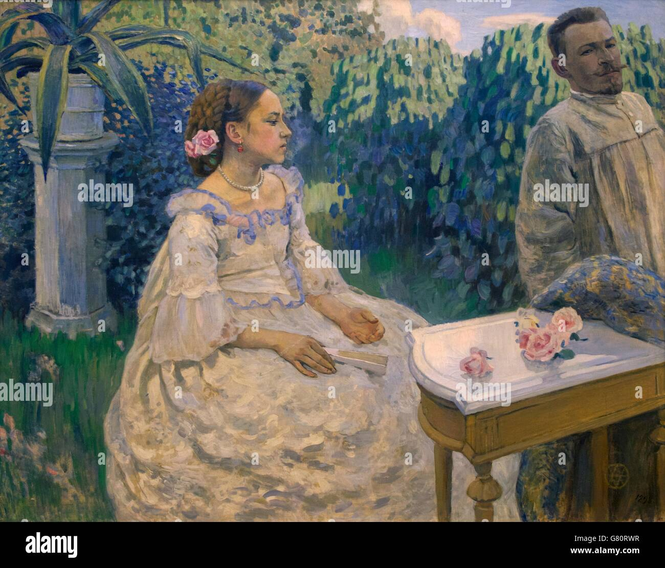 Self-Portrait with Sister, by Victor Borisov-Mussatov, 1898, State Russian Museum, Saint Petersburg, Russia - Stock Image