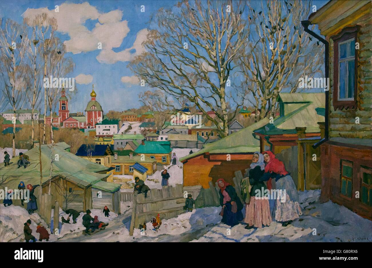 Sunny Day in Spring, by Konstantin Yuon, 1910, State Russian Museum, Saint Petersburg, Russia - Stock Image