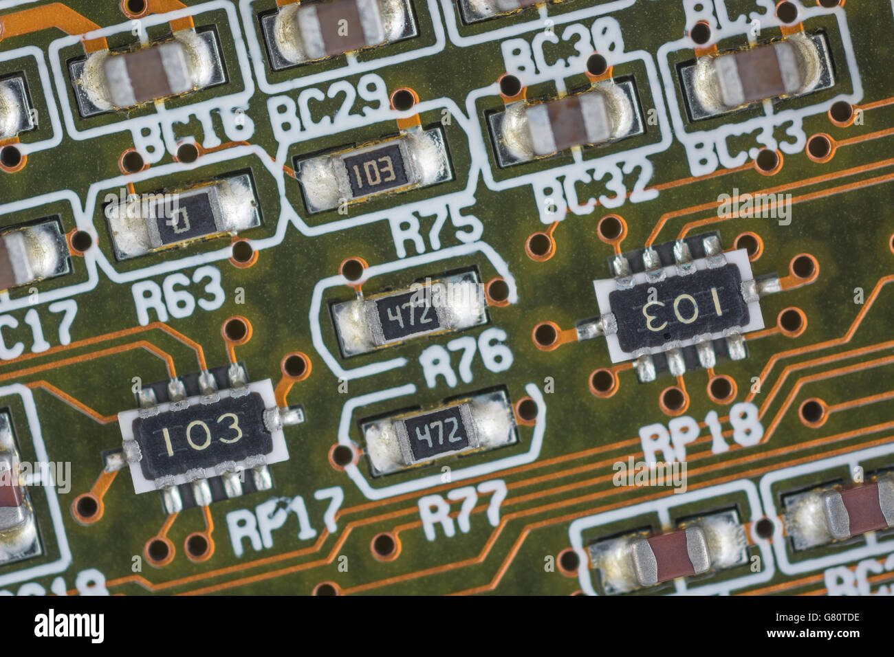 Concept - computer technology / cpu / system architecture. Socket 7 components below CPU chip. Wiring inside computer. - Stock Image