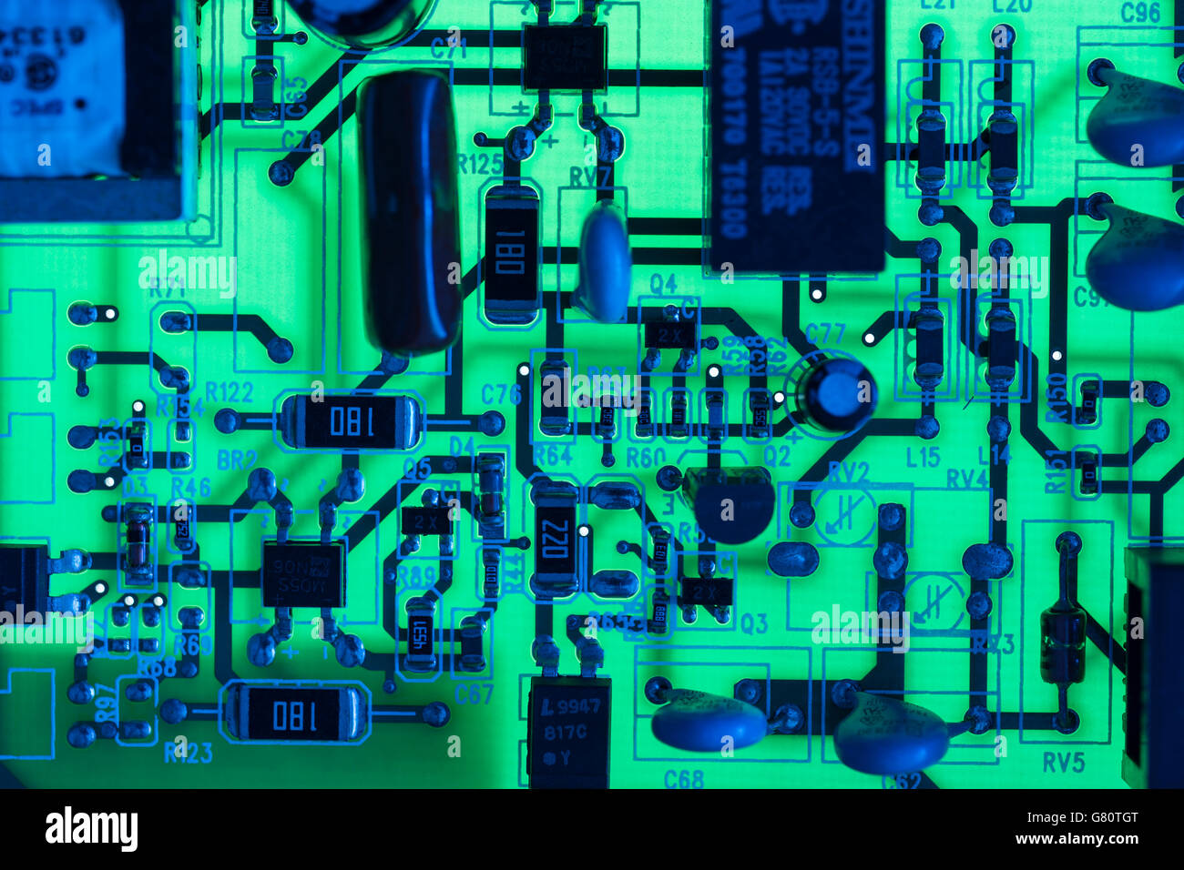 Abstract Circuit Board Stock Photos Old Electronic Royalty Free Image Technology Concept Visual Metaphor For Electronics Pcb Showing Components Lit With