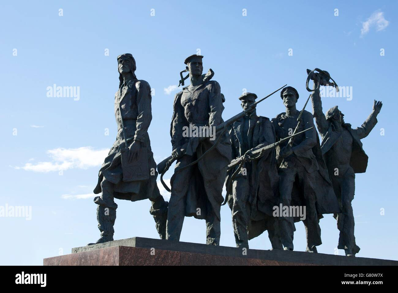 Sculpture of sailors and pilots, Monument to the Heroic Defenders of Leningrad, Victory Square, Ploshchad Pobedy, Stock Photo