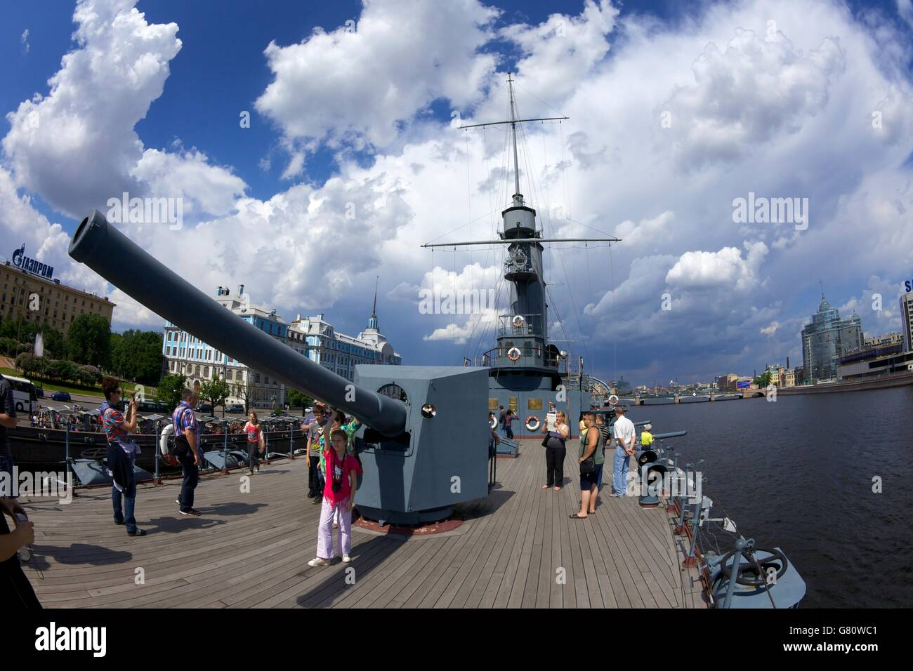 Visitors on-board the Aurora Cruiser on River Neva, Naval Academy, St Petersburg, Russia - Stock Image