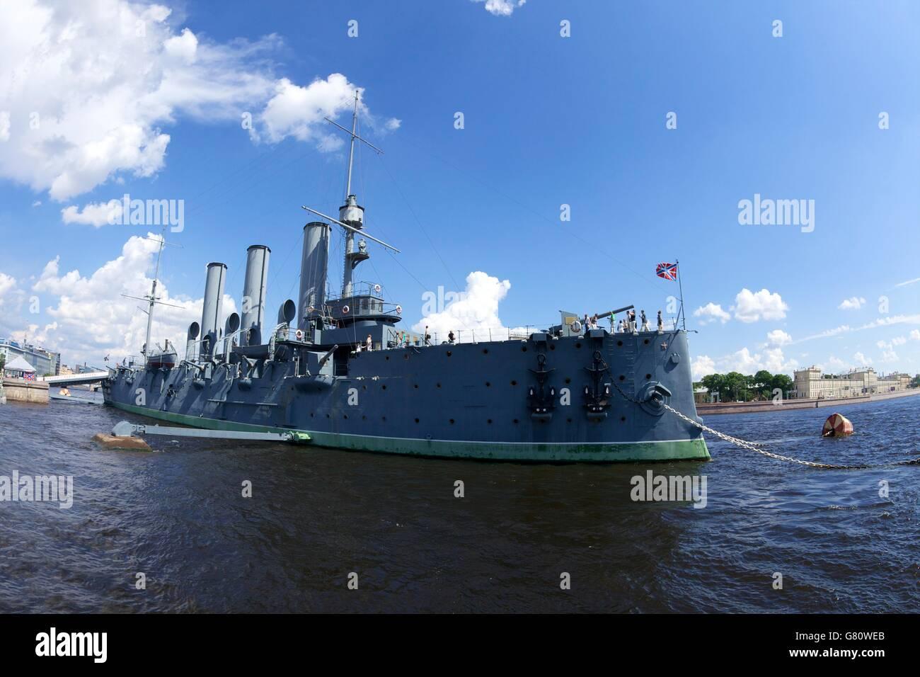 Aurora Cruiser on River Neva, Naval Academy, St Petersburg, Russia - Stock Image