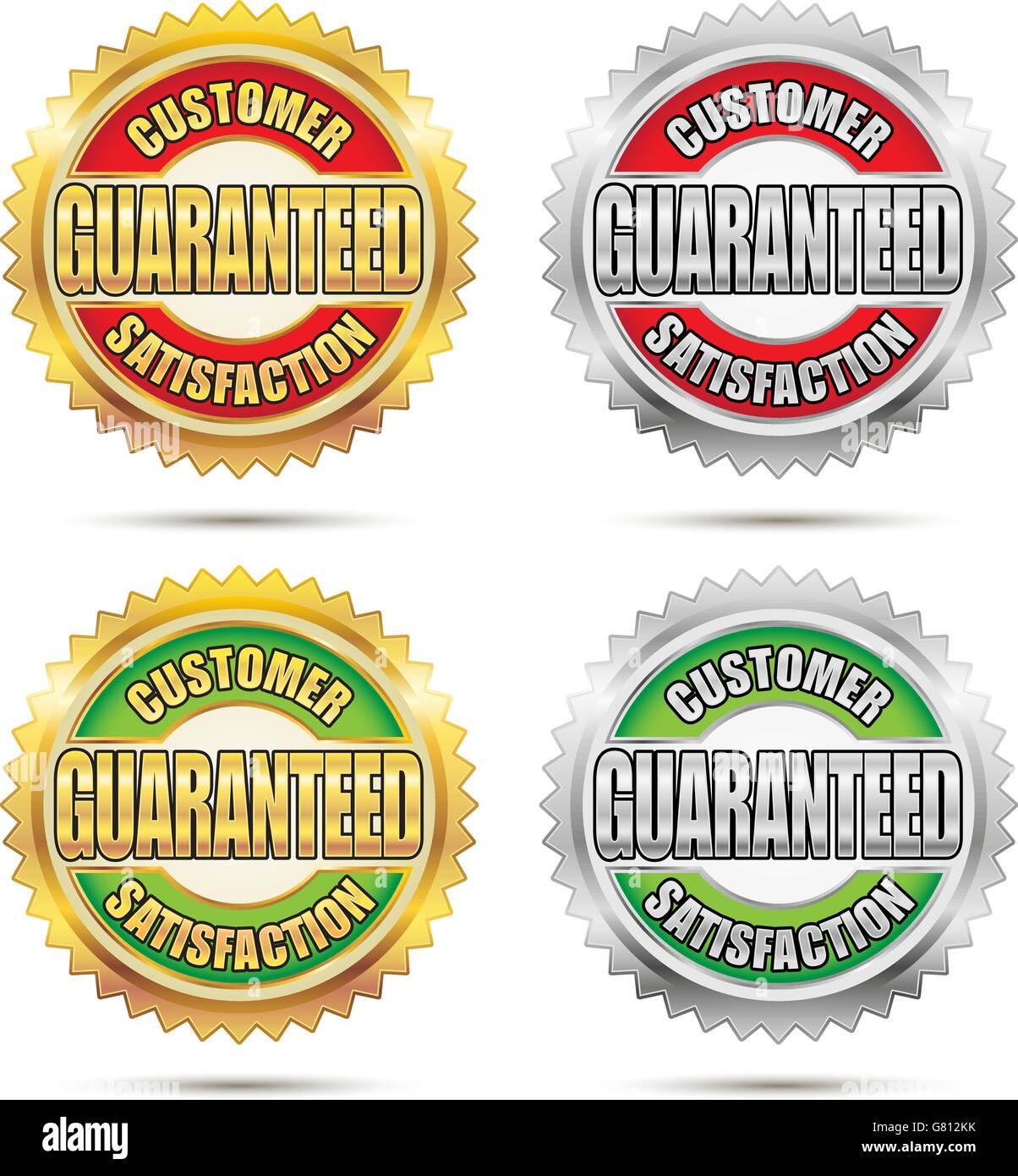 Vector Seal of Customer Satisfaction Guaranteed - Stock Vector