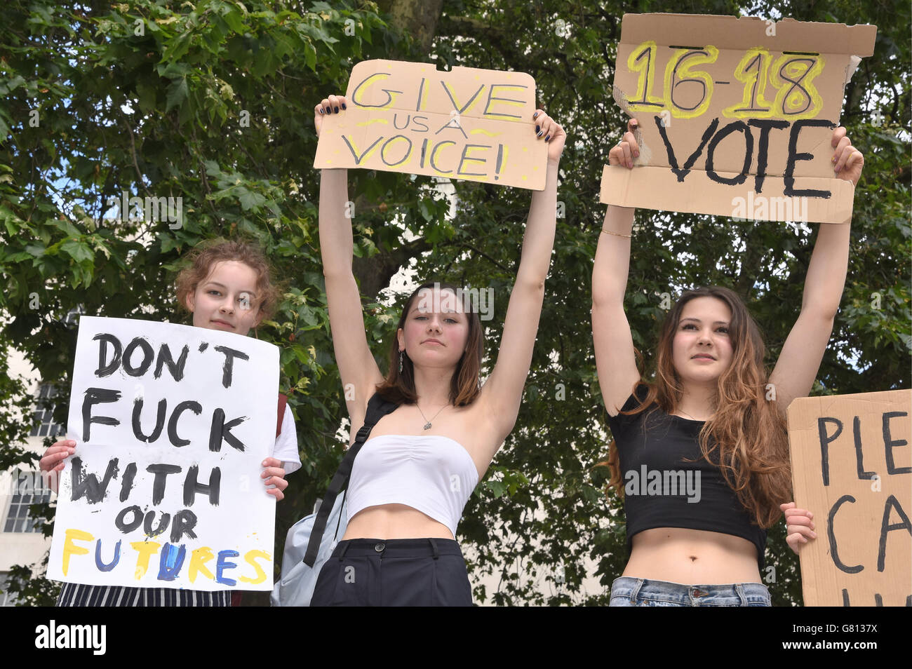 Teenagers protest against Brexit and the right of 16-17 year olds to have a vote,Whitehall,London.UK - Stock Image