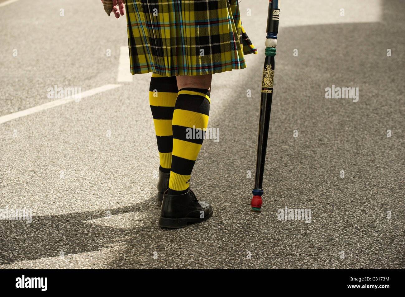 The Penzance Town Crier marching during the Mazey Day celebrations in Penzance Cornwall UK. - Stock Image