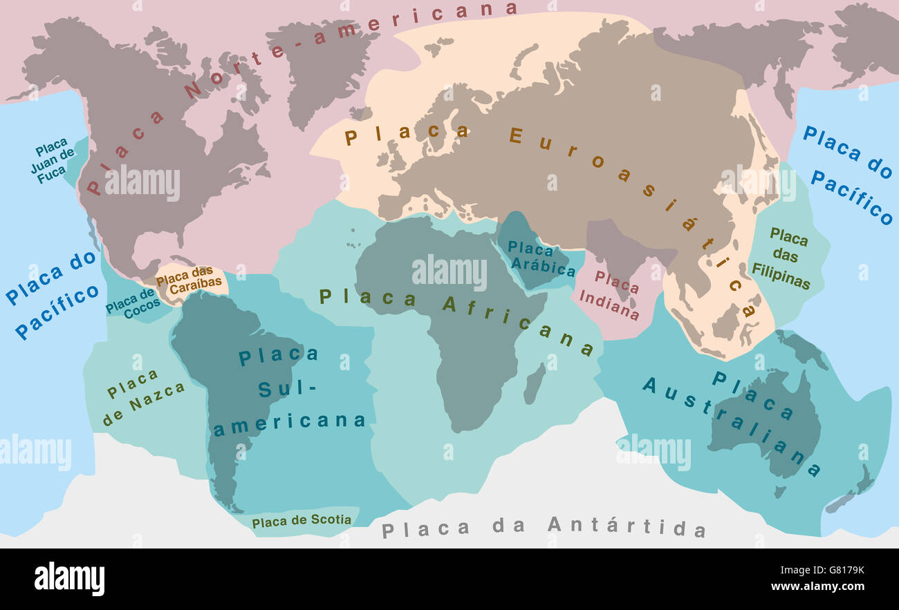 Tectonic Plates - PORTUGUESE NAMES! - world map with major an minor plates. Stock Photo