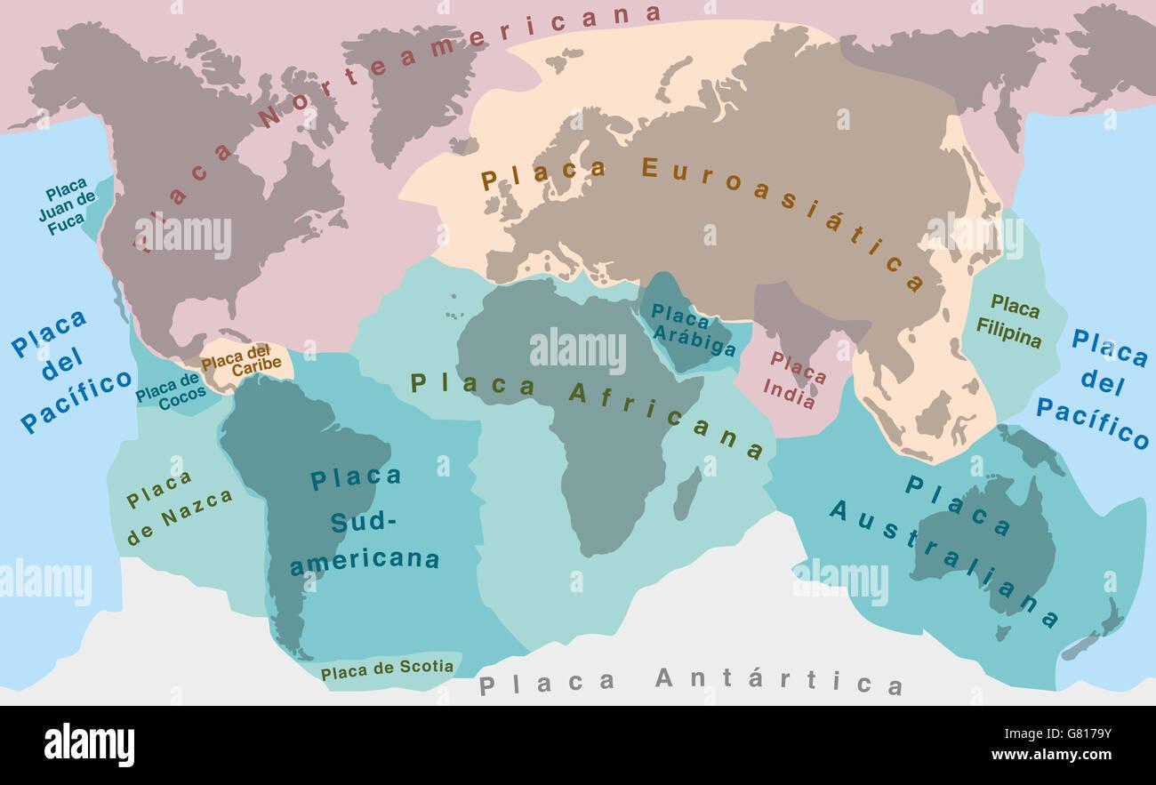 Tectonic plates map stock photos tectonic plates map stock images tectonic plates spanish text world map with major an minor plates gumiabroncs Images