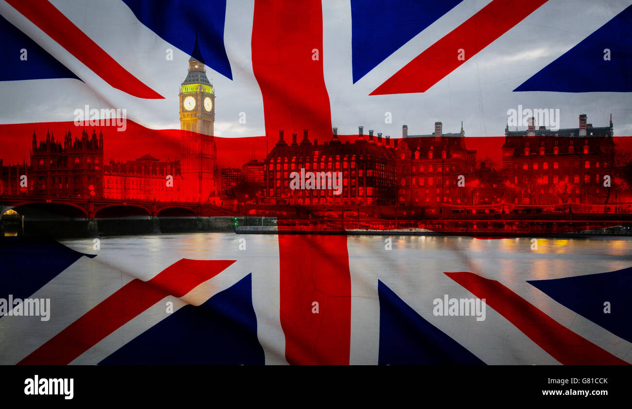 British union jack flag and Big Ben Clock Tower and Parliament house at city of westminster in the background - - Stock Image