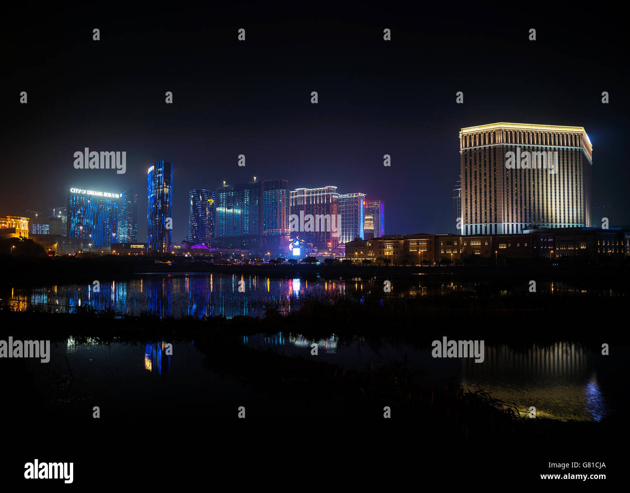 casino hotel resorts neon on cotai strip macao macau china at night - Stock Image
