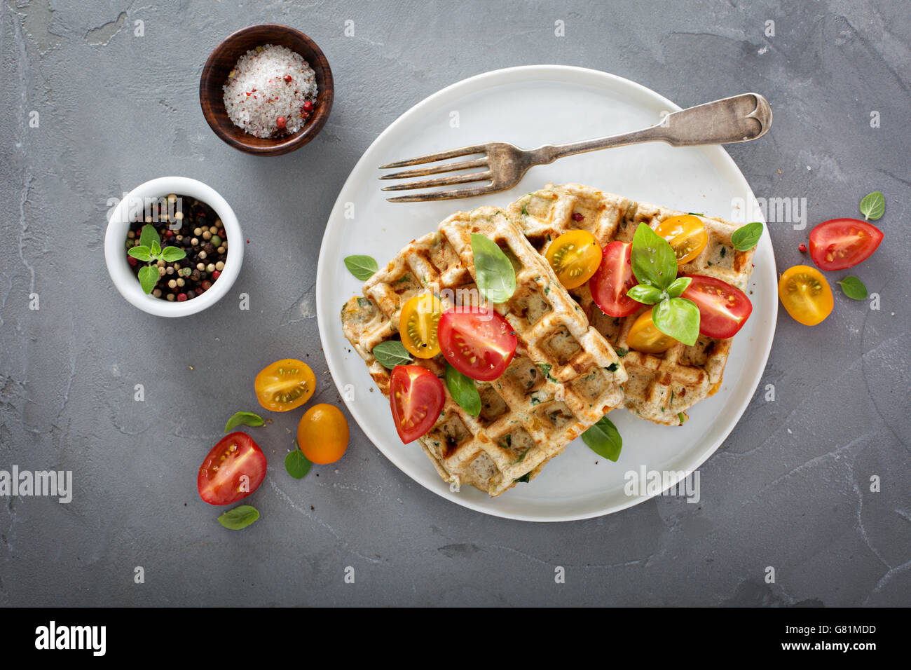 Vegetable and cheese savory waffles - Stock Image