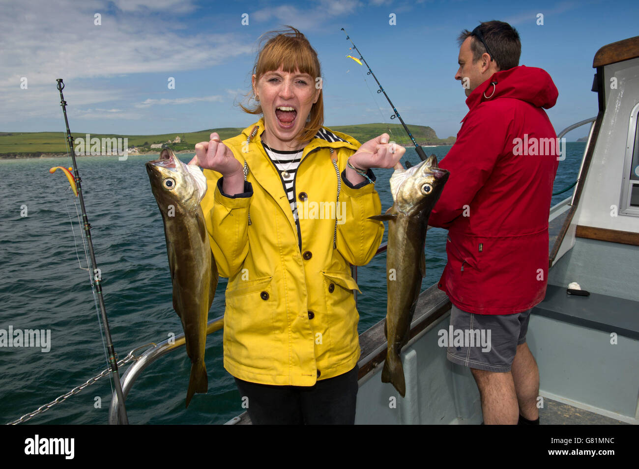 Catch & Cook at Rick Stein's Cookery School in Padstow,Cornwall,UK,where students go fishing then fillet - Stock Image
