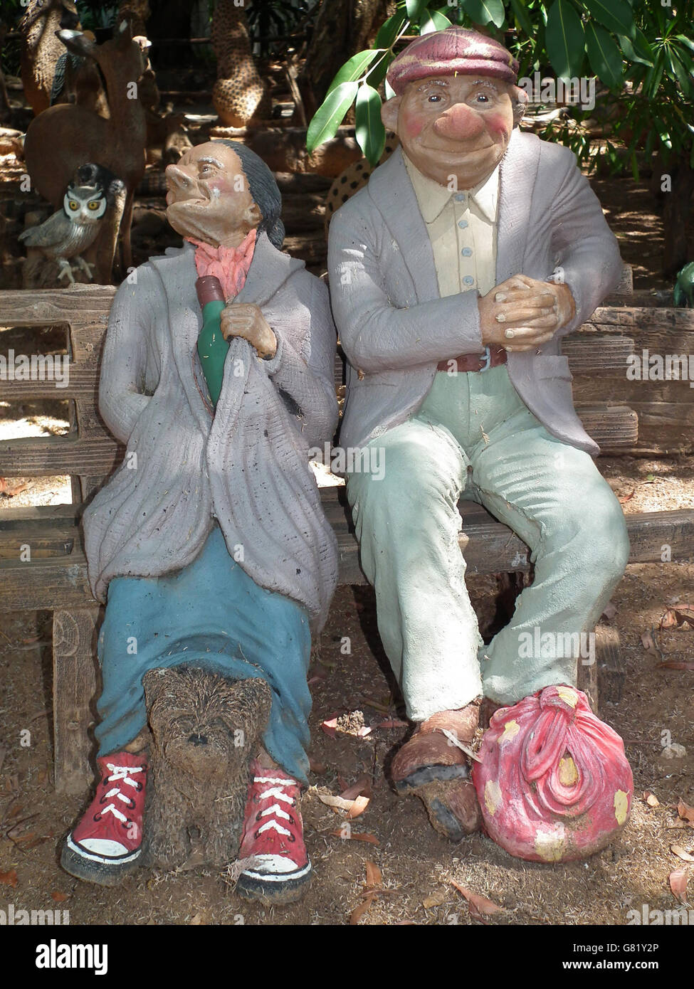 Old Garden Statue: Garden Ornaments, Old Couple, South Africa, 2012 Stock