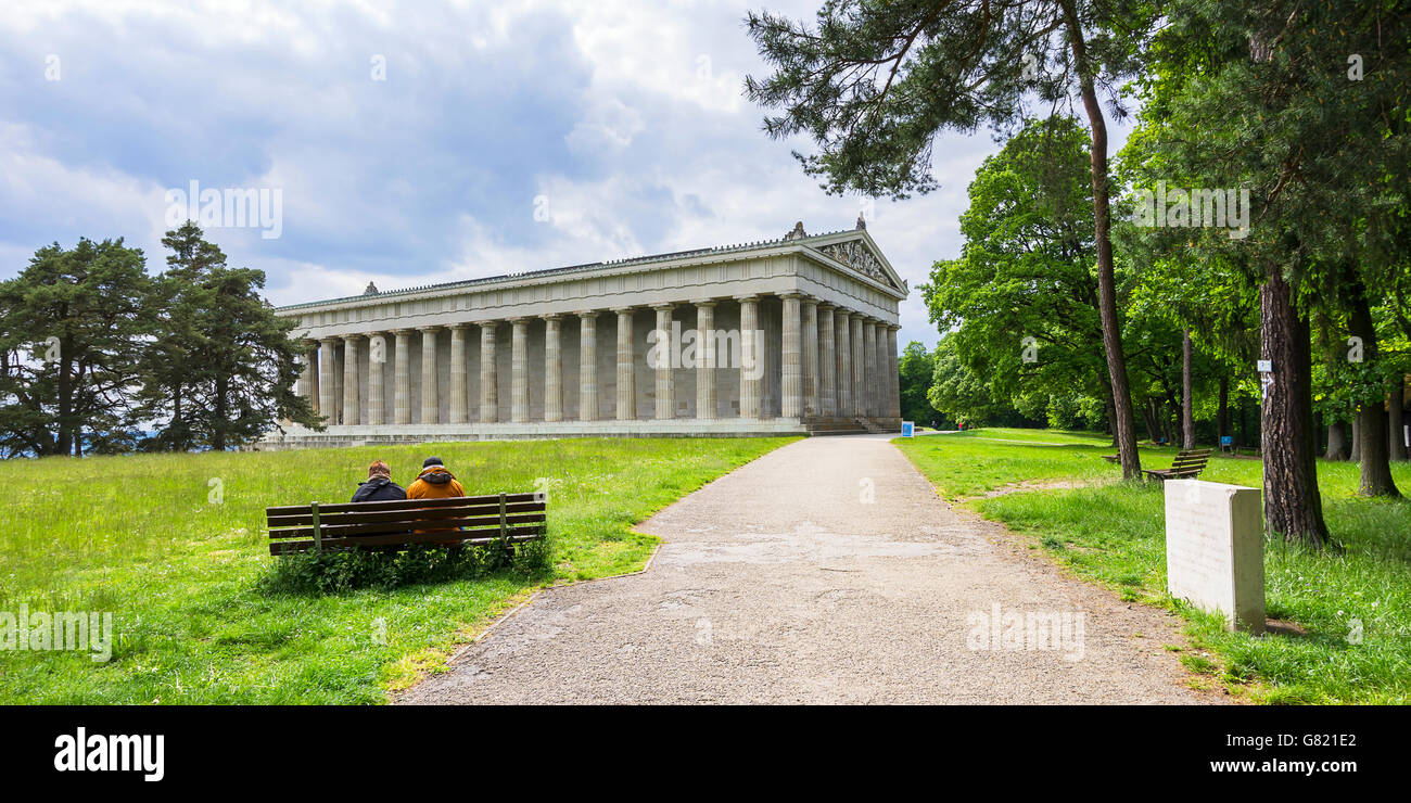 The Walhalla Hall of Fame temple near Regensburg, Bavaria, Germany. Stock Photo