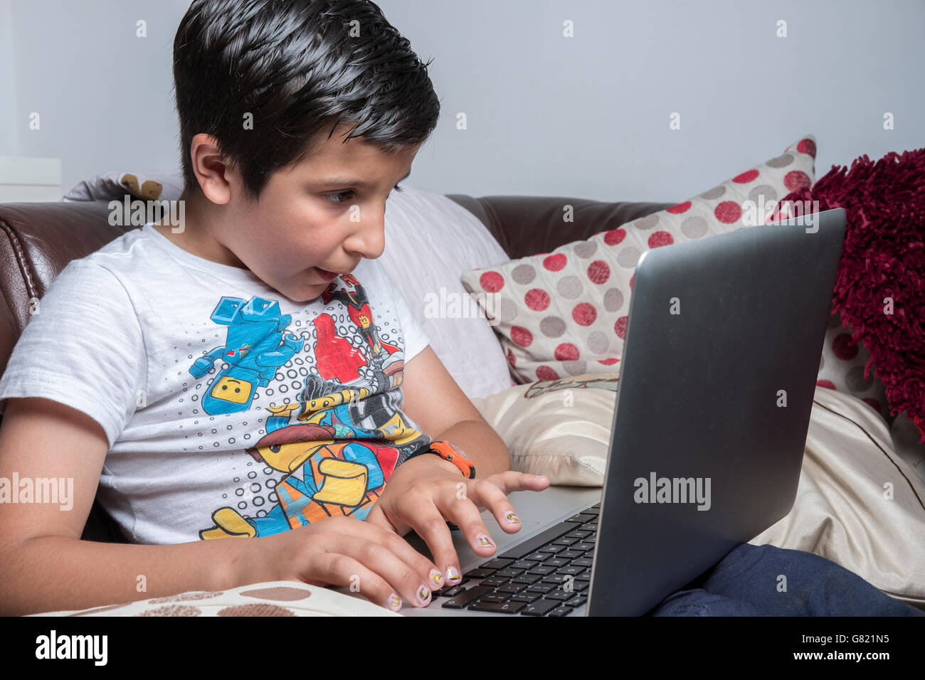 Boy on laptop computer - Stock Image