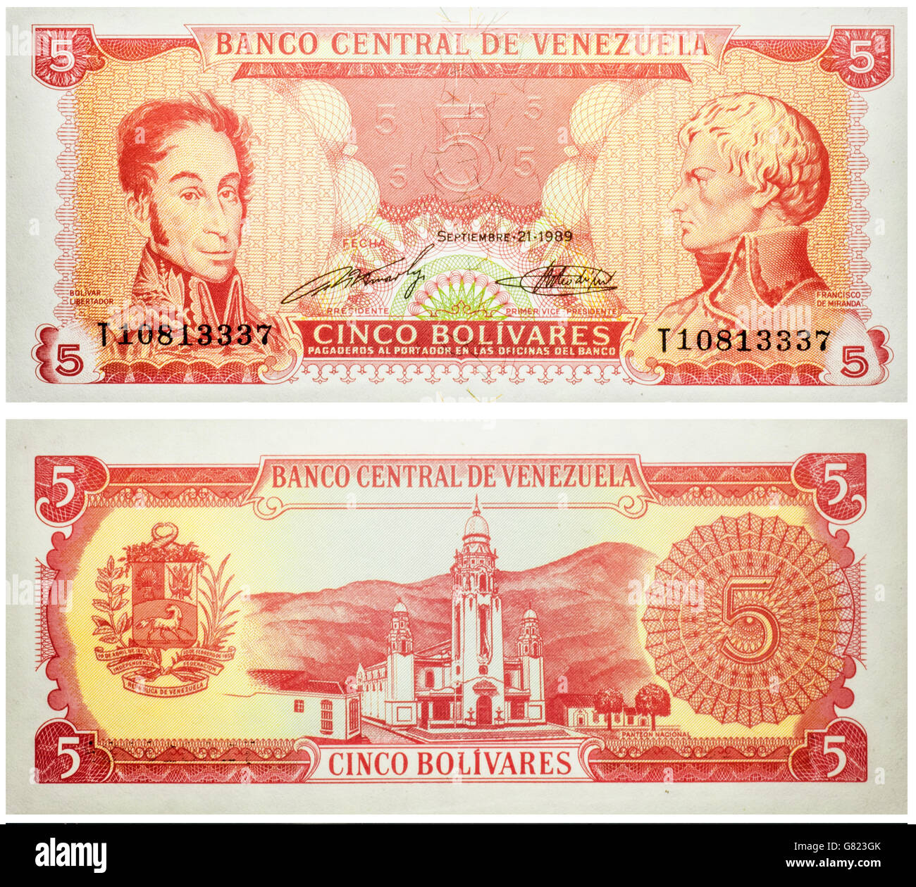 Banknote 5 Bolivares Venezuela isolated on white emitted on 1989. On front Simon Bolivar at left, Francisco de Miranda - Stock Image