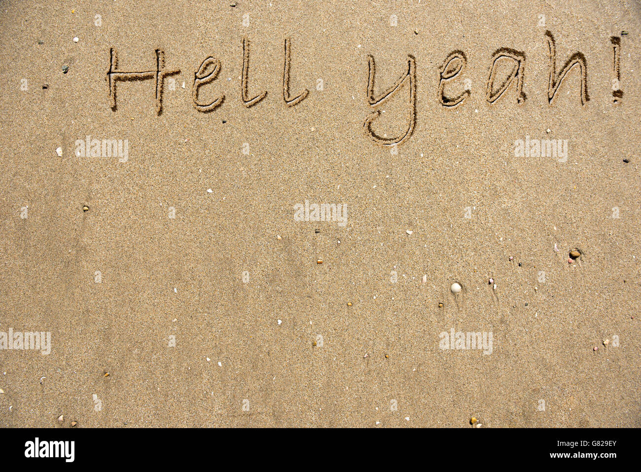The words Hell Yeah written on sand - Stock Image