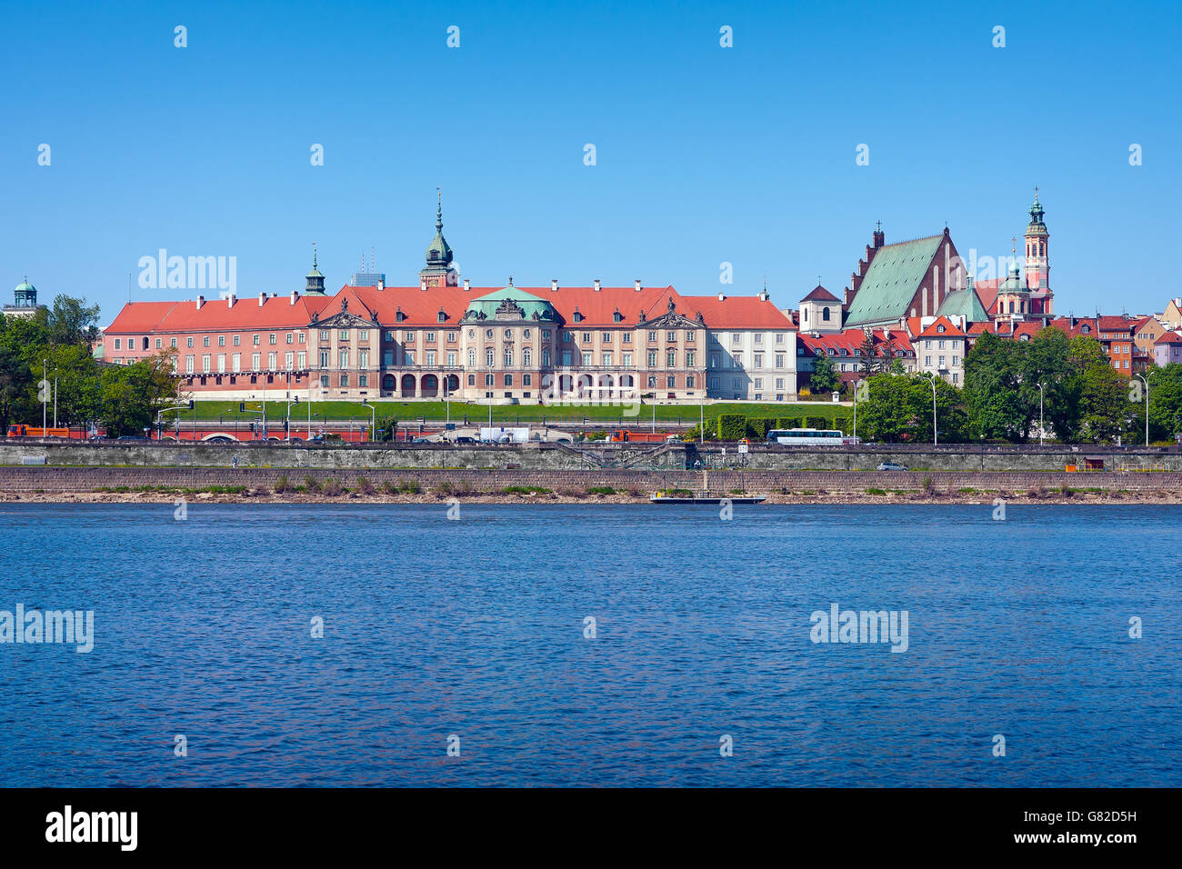 Warsaw Royal Castle and Wisla River Stock Photo