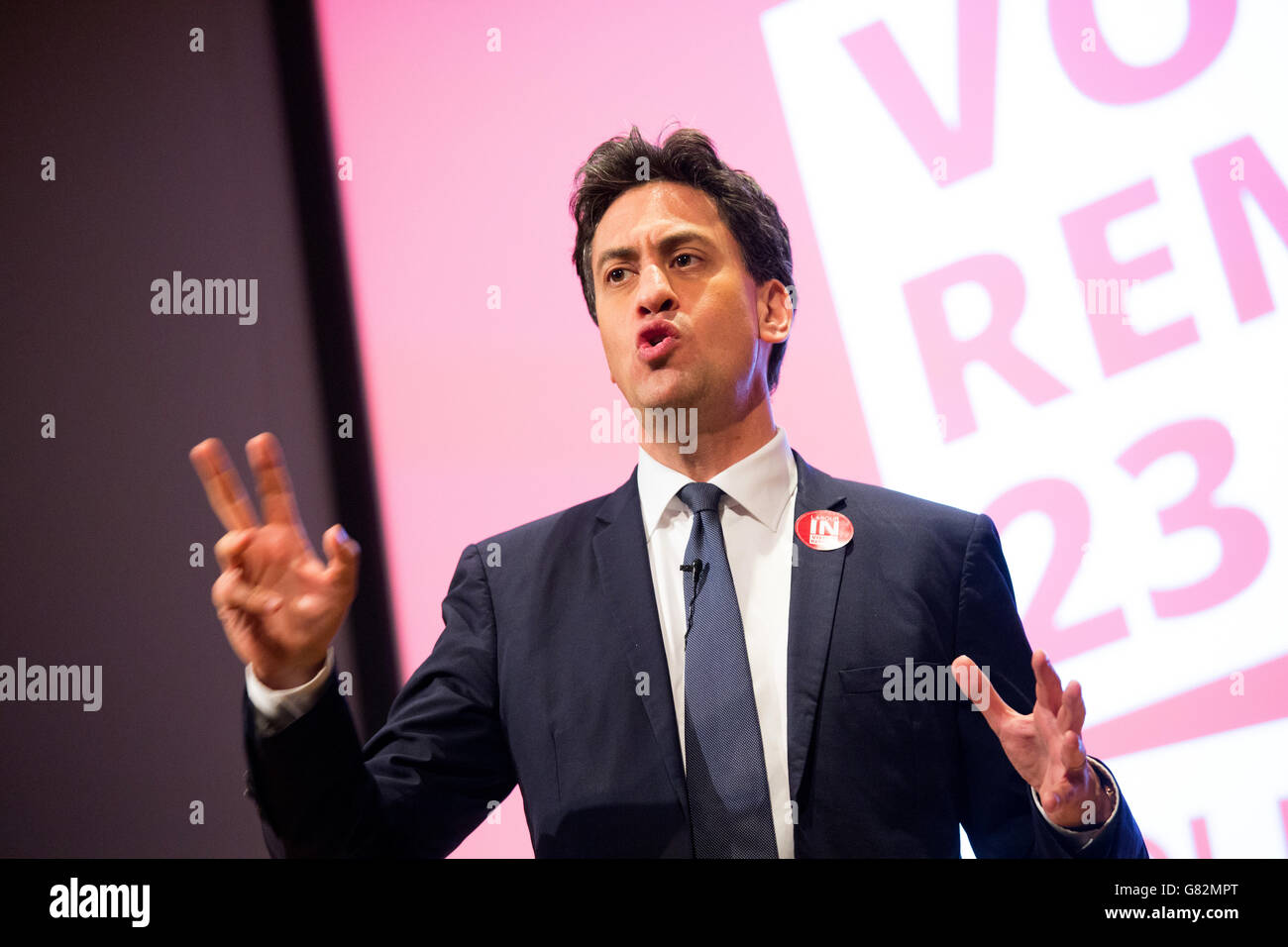 Former leader of the Labour party Ed (Edward) Miliband speaking at a meeting of the Remain party during the Referendum. - Stock Image