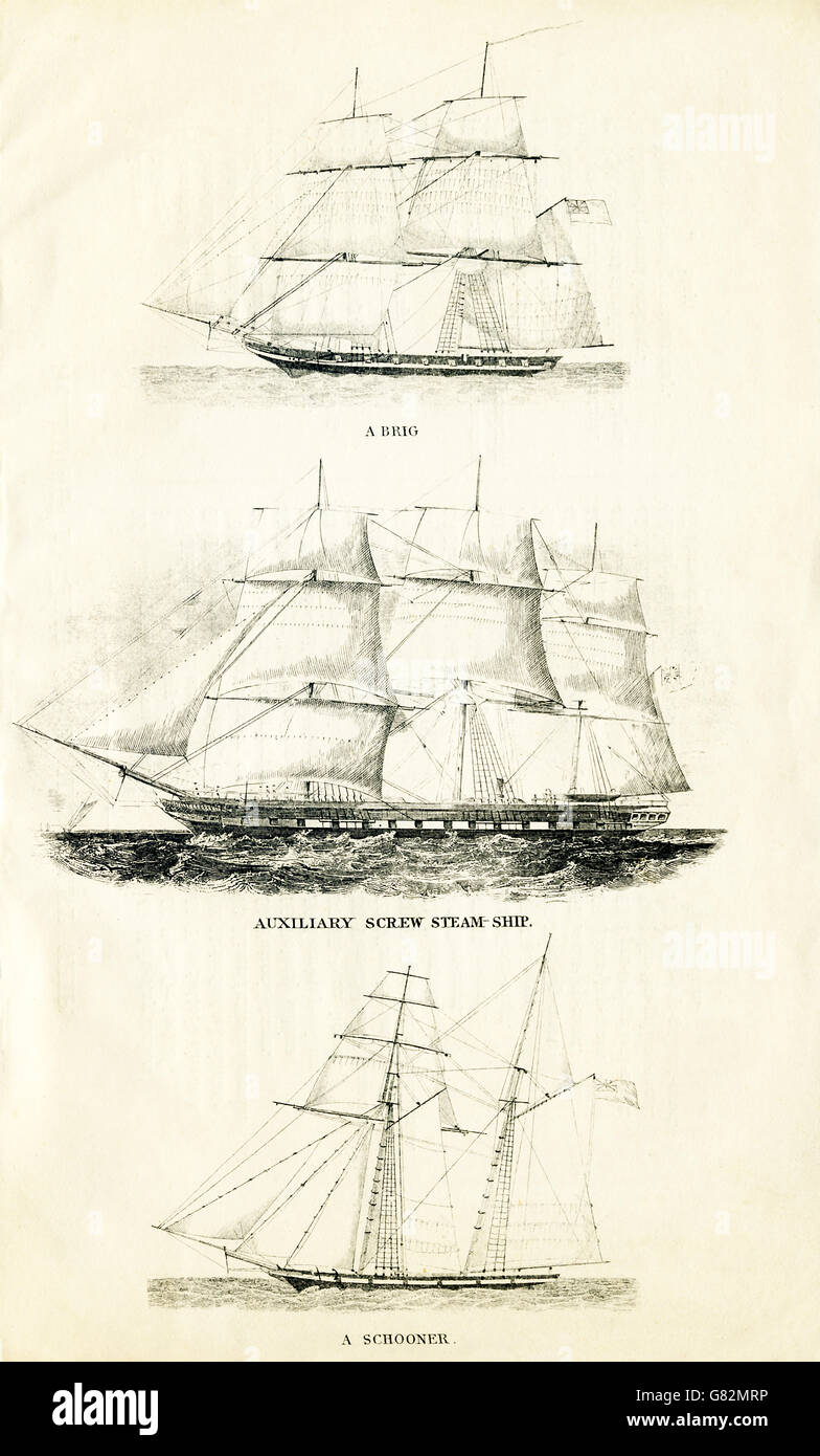 These three ships are, from top to bottom: a brig, an auxiliary steam ship, and a schooner. The illustration dates - Stock Image