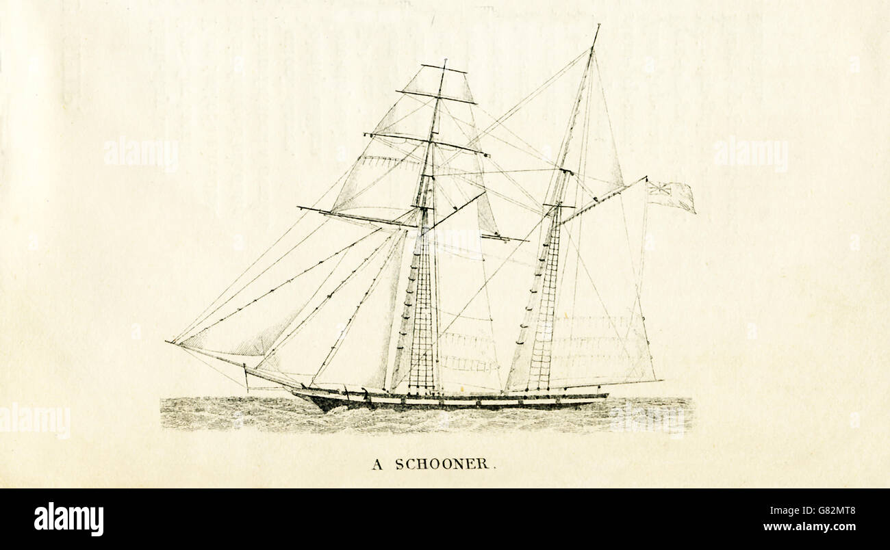 Pictured here is a schooner. The illustration dates to the 1800s. - Stock Image