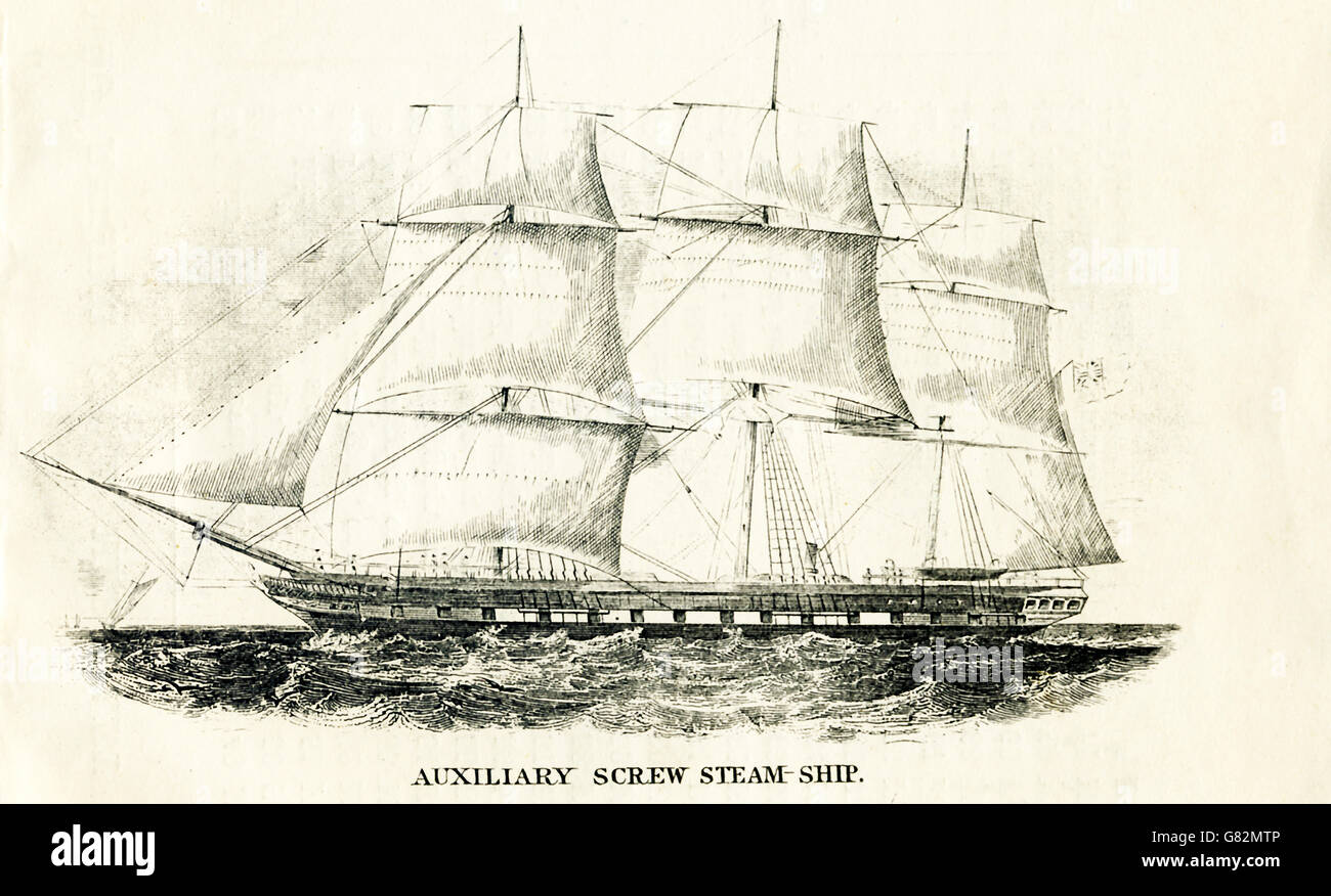 Pictured here is an auxiliary crew steam ship. The illustration dates to the 1800s. - Stock Image