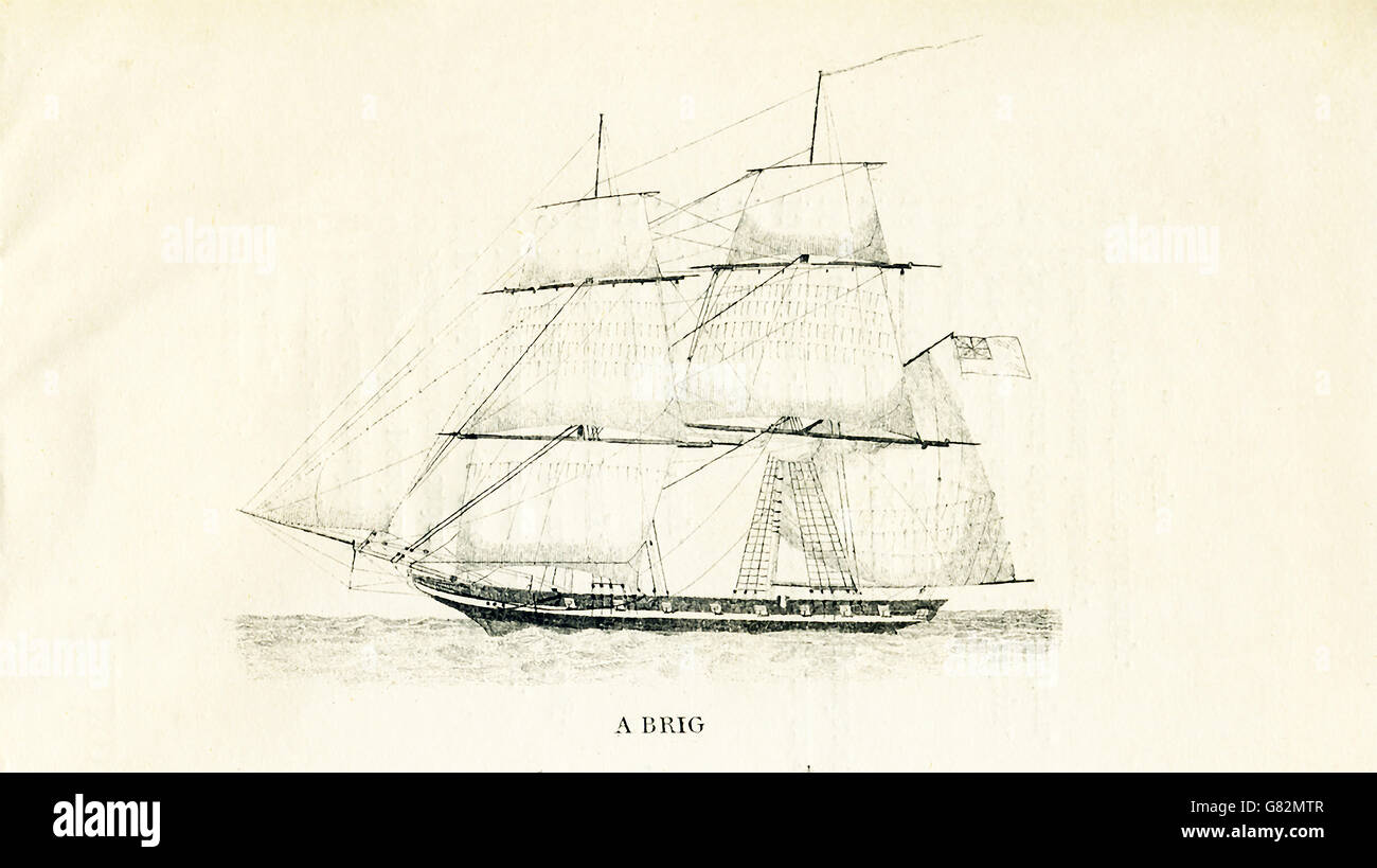 Pictured here is a brig. The illustration dates to the 1800s. - Stock Image